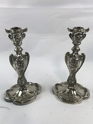 Lovely Pair of Antique PAIRPOINT Silverplated  Floral Candlesticks
