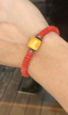 Old Natural Undyed Blood Red Coral Bracelet And National Baltic Amber