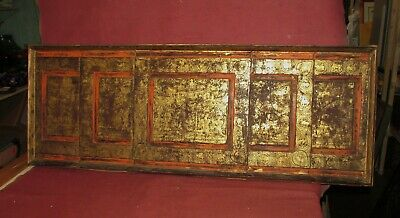 Large Antique Thai Asian Painting Architectural Wood  Panel