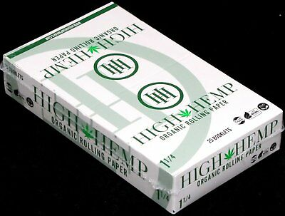 High Hemp Organic 1 1/4 Size Rolling Papers 25 Booklets (800 Sheets) FULL BOX