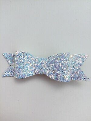 Christmas Flower Girls Small 3.5 Girls Hair Bow Clip Sparkly Faux Leather Bow