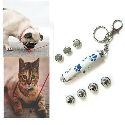 Interactive Cat Kitty  Laser Pointer Chase Toy Key Chain with 5 Laser Designs