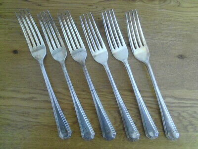Vintage Set Of 6 Mappin & Webb Silver Princes Plate Dinner Forks - Athenian