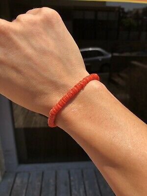 Old Natural Undyed Tomato Red Coral Bracelet