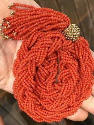 Old Natural Undyed Red Coral Multi Stranded Necklace With 18k Gold Bead Braided