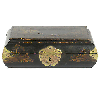 Vintage Chinese Small Black Lacquer & Gold Jewelry Storage Box Curved Sides