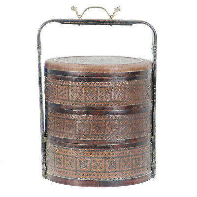"Vintage Chinese 3 Tier Round Wedding Food Carrier Basket 13"" Dia 19"" Tall"
