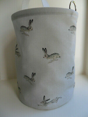 Hanging Clothes Peg Bag Laundry Pot Handmade Sophie Allport Hare Fabric