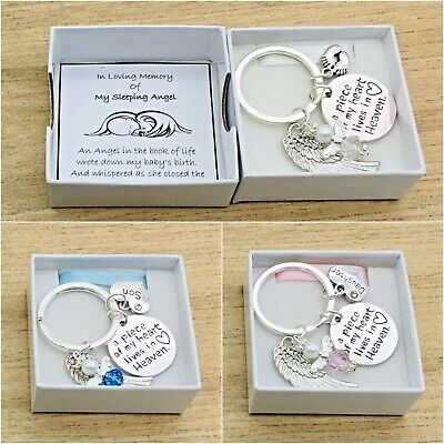 Baby Loss. A Piece Of My Heart Lives In Heaven. Round Angel Keyring. Box