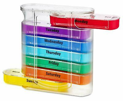 MEDca Weekly Pill Organiser, Four Times-a-Day, 1 Dispenser with Stackable AM/PM