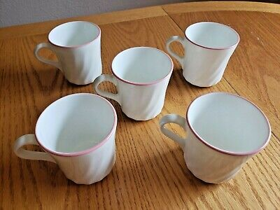 Five (5) Corelle Enhancements White Swirl Coffee Tea Cups Mugs Corning Pink Top