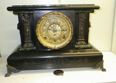 Antique Seth Thomas Mantel Clock Adamantine Lions Heads Working