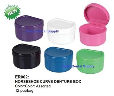 Plasdent Dental Horseshoe Curve Denture Boxes Assorted Colors Box/12 #ER002-A