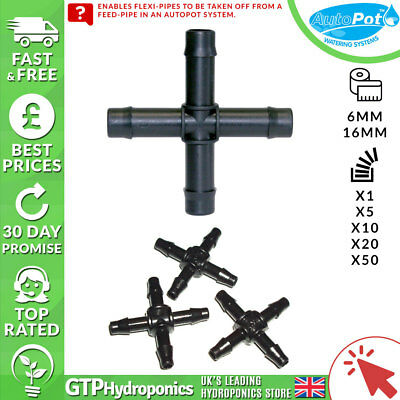 6mm / 16mm Autopot Cross Connector - Qty: 1/5/10/20/50 - Hydroponic System Parts
