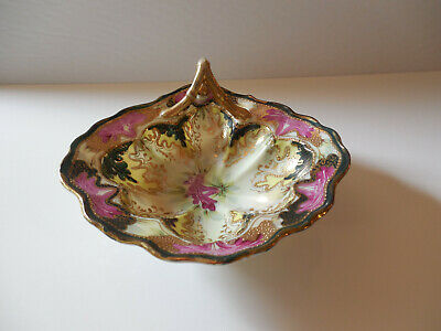 Antique Japanese Hand Painted Moriage Gold Gilt Porcelain Candy Dish
