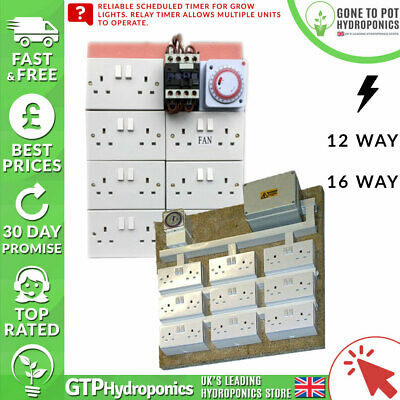 Contactor Board - Hydroponics Grow Light Socket Scheduled Timer - 12/16 way