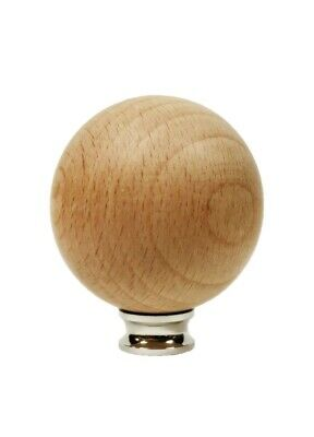 Lamp Finial-SOLID BEECH WOOD BALL-LARGE-W/Dual Thread Base-Chrome