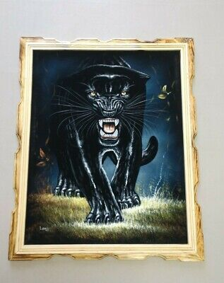 "BLACK PANTHER  , Hand Painted , VELVET PAINTING , 18"" BY 22"" W , FRAMED"