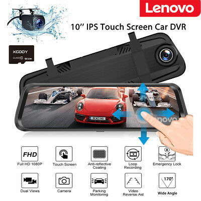 64GB Lenovo 10'' Full HD 1080P Car DVR Dual Lens Dash Cam Camera Video Recorder