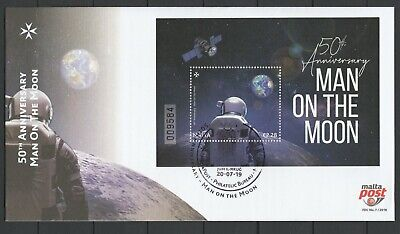 Malta 2019 Space, Apollo 11 50th Anniversary Moon Landing FDC