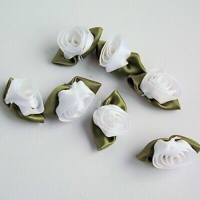 Ribbon Roses with Leaves, 30mm, Various colours M30