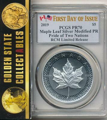 2019 Rcm Pride Of 2 Nations  Canadian Silver Maple Leaf Pcgs Pr70 Fdoi 1 Of 10K