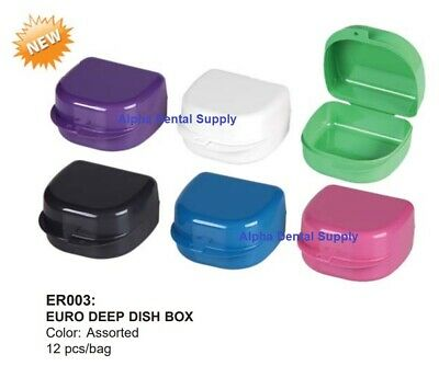 Plasdent Dental Orthodontic Euro Deep Dish Retainer Boxes Assorted Colors Bx/12