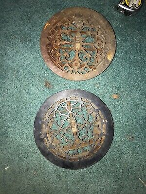 Pair Of Antique Cast Iron Registers 9 1/2 Around. Working Dampers.