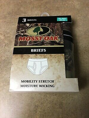 Mossy Oak Mens Briefs 3 Pack +1 Sz XL/40-42  Olive Green, Black, Camo New in Box