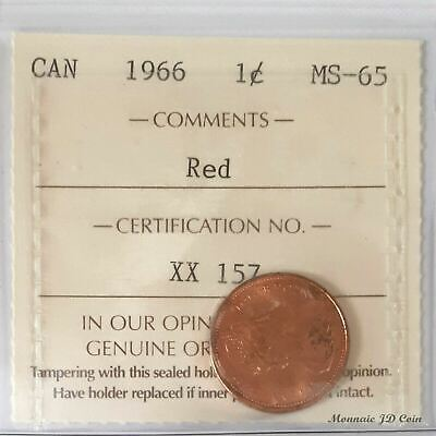 1966 Canada1Cent Certified By ICCS MS-65 Red (XX157)