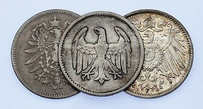 Lot of 3 German Silver Coins 1875 - 1924 VF to BU Condition