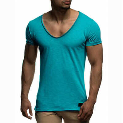 Men's T-Shirt Tee Tops Casual Pure Color Clothing Breathable Loose Muscle Sexy