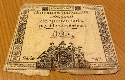 France Revolution Banknote. 15 Sols. Dated 1793. Assignat. French Note.