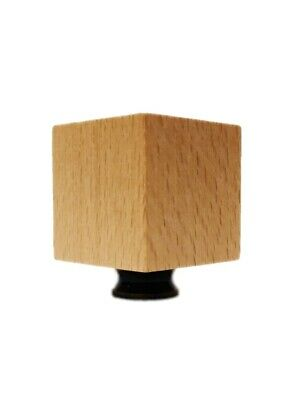 Lamp Finial-SOLID BEECH WOOD CUBE-W/Dual Thread Base-Antique Brass