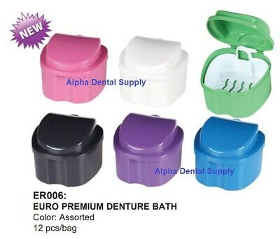 Plasdent Dental Euro Premium Denture Bath Boxes Assorted Colors Box/12 #ER006-A