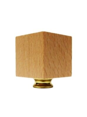 Lamp Finial-SOLID BEECH WOOD CUBE-W/Dual Thread Base-Polished Brass