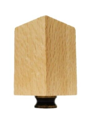 Lamp Finial-SOLID BEECH WOOD RECTANGLE CUBE-W/Dual Thread Base-Antique Brass