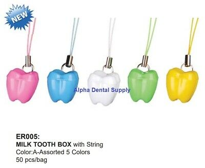 Plasdent Dental Milk Tooth Boxes with String Assorted Colors Pack/50 #ER005-A