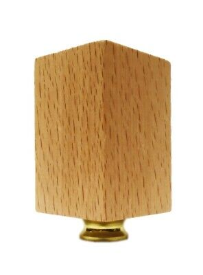 Lamp Finial-SOLID BEECH WOOD RECTANGLE CUBE-W/Dual Thread Base-Polished Brass