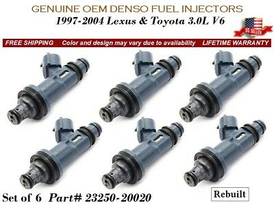 Set of 6 Fuel Injectors Denso OEM for 1998-2003 Toyota Sienna 3.0L