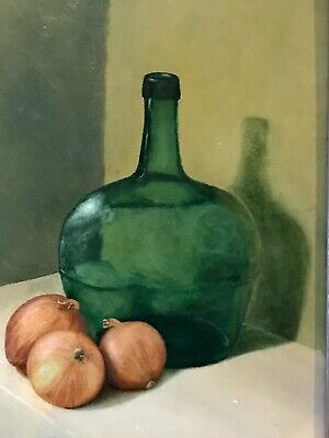 Vintage Oil Painting 'Still Life' Created In 1960Th Magnificent Original Frame.