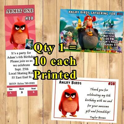 ANGRY BIRDS BIRTHDAY Invitations 10 Ea Or Thank You Cards W Env Personalize