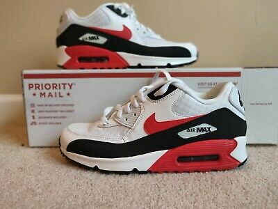 release date: 11127 52b84 NEW NIKE AIR Max 90 White University Red Black Mens Size 8 BV2522-100