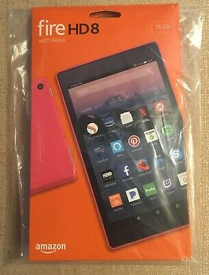 """New Amazon Kindle Fire HD 8 Tablet 16 GB w/Alexa 7th Gen 2017 8"""" Punch Red"""