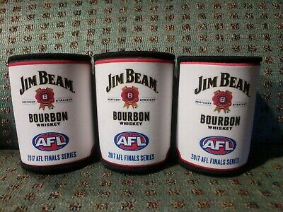 3 Jim Beam Bourbon Whiskey AFL Stubby Can Holders Coolers