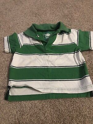Infant Boys Childrens Place Green And White Striped Polo Shirt, 18 Months
