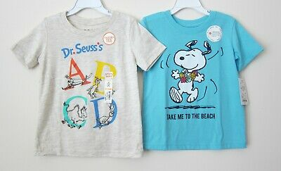 Lot of 2 Toddler Boy 4T Jumping Beans Dr. Seuss's Snoopy Short Sleeve T-Shirt