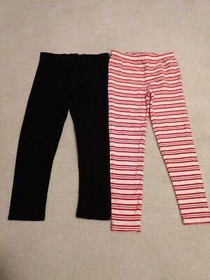 Two pair girls size 5 leggings, black and red candy striped