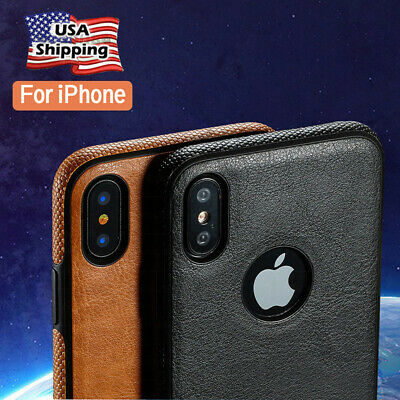 For iPhone X& Xr Xs Max 6 7 8 SLIM Luxury Leather Back Ultra Thin TPU Case Cover