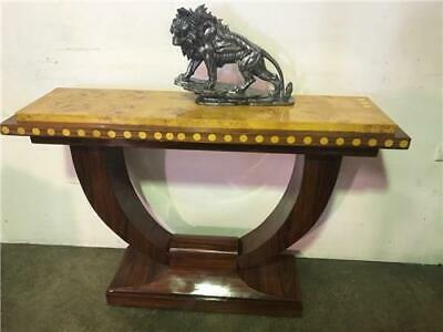 "Gorgeous Art Deco  ""U"" Shaped Hall/Console Table In Multiple Veneers"